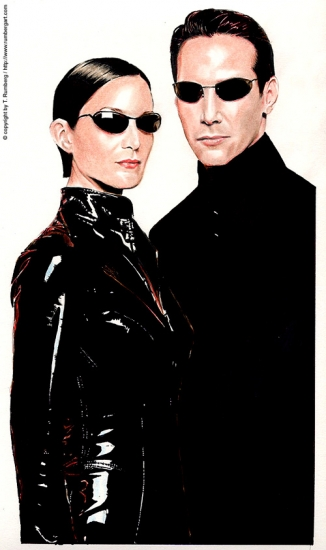 Keanu Reeves, Carrie-Anne Moss por tomjogi